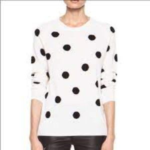 Equipment Sloan Dot Cashmere Sweater White/Black EUC Size L